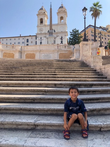 Sitting on the Spanish Steps (oops)